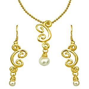 Surat Diamonds Trendy Imitation Shell Pearl amp; Gold Plated Pendant with Chain amp; Earring Set for Women (SDS150) available at Amazon for Rs.299