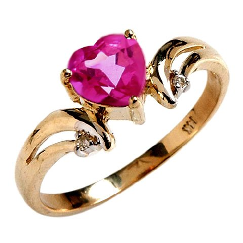 14k Solid Gold Pink Topaz Heart Ring with Diamond Accents - Size 7