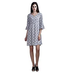 MansiCollections Women's Causal Printed Grey Dress (Large)