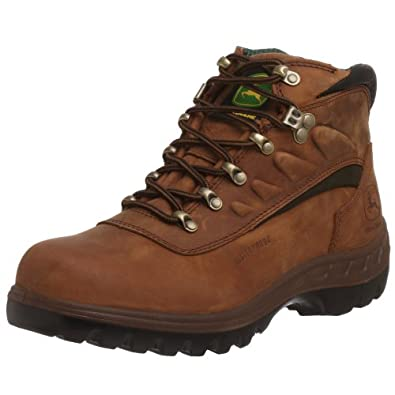 John Deere Work Boots Mens Waterproof Steel Toe 7 M Poplar Tan JD3604