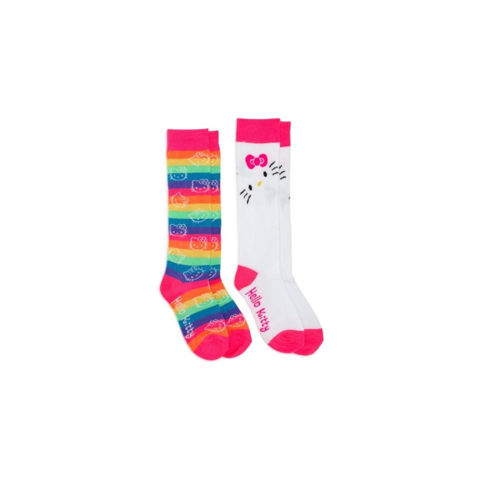 Hello Kitty Girls 7 16 Multi Stripe/white Hello Kitty Girls 2 Pack Knee High Socks,hello Kitty Print,6 8.5