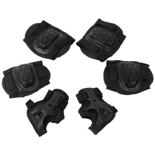 Dimart Child Black Skating Protective Elbow Knee Palm Pad Protector 3 Pairs 7pcs xiaomi skating cycling helmet knee pads elbow wrist brace set