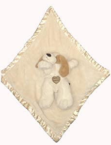"Baby Blankie Buddies 2-in-1 Security Blanket 18""x18"" Beige Blanket with Puppy Dog 12"" Long"