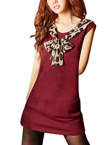 Women Leopard Print Self Tie Knot Accent Sleeveless Tunic Top Red XS