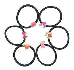 Mehrunnisa Set of 6 Black Elastic Cute Design Hair Bands For Girls / Women (JWL1267)