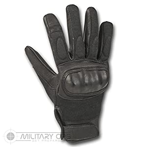 Tactical Black Leather Hard Knuckle Gloves by Alpha Tactical