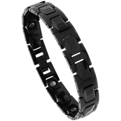 Sabrina Silver Tungsten Black H & Faceted Hexagon Link Magnetic Bracelet, 7/16 in. (11mm) wide (BTN138)