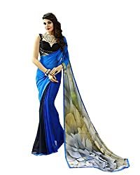 Pramukh saris Womens Georgette Printed Sari(Blue,Black)