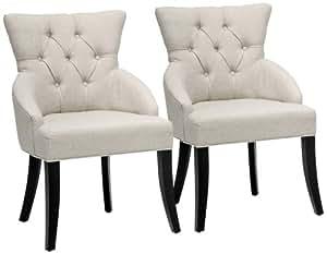 Baxton Studio Halifax Beige Linen Dining Chair, Set of 2
