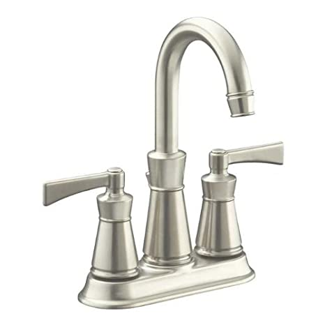 Kohler K-11075-4-BN Archer Centerset Bathroom Faucet - Includes Metal Pop-Up Drain Assembly, Brushed Nickel