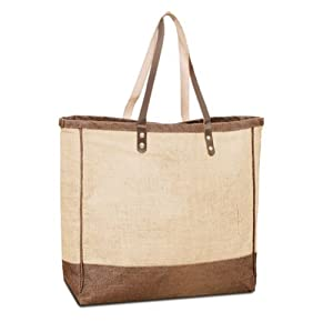 Jute/ Burlap Large Beach Tote Bag with leather handles Summer Shopping Bag Natural Color bag - Summer Clearance Sale