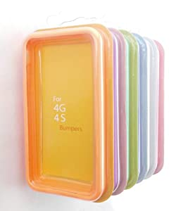 MKT TM_6 colours Premium TPU Bumper case w/ Chrome Buttons for iPhone 4 AT&T (Orage,Purple,Green,Blue,White,Hot Pink)