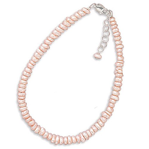Sterling Silver 13 + 2 Inch Extension Pink Cultured Freshwater Pearl Necklace