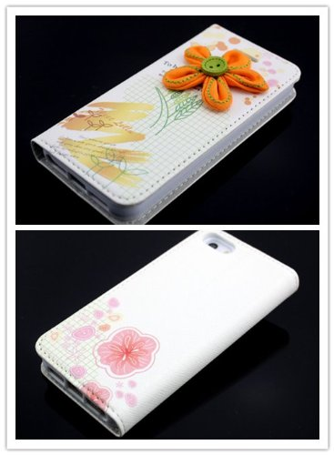 Big Dragonfly New Arrivals Eco Skin Cute 3D Pattern Folio Pu Leather Case With Cover For Apple Iphone 5S 5 With Built-In Stand, Card Slots And Two Tiny Suction Cups Retail Package(Orange Flora To Be Loved) White front-1044511
