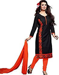 BRIDAL COLLECTION Black Cotton Embroidered Dress Material