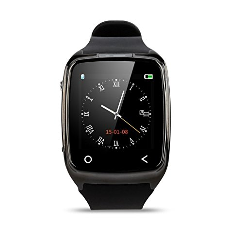 EasySMX i8 First Smart Watch for All Apple iPhone Samsung SmartWatch with Fitness Tracker Speaker Bluetooth Wristwatches Men Women Watch (Black)
