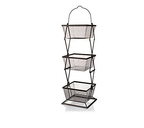 Origami 3-Tier Produce Basket Vegetable Bin Snack Organizer | Fruit Rack, Onion Basket, Three Tiers, Kitchen Counter Storage, for Farmhouse Veggies Fruits or Storage Organizer, Metal Wire | Bronze (Color: BRONZE)