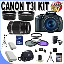 Rebel T3i 18 MP CMOS Digital SLR Camera and DIGIC 4 Imaging with EF-S 18-55mm f/3.5-5.6 IS Lens & Canon 55-250IS Lens + 58mm 2x Telephoto lens + 58mm Wide Angle Lens (4 Lens Kit!!!!!!) W/32GB SDHC Memory+ 2 Extra Batteries + Charger + 3 Piece Filter Kit + UV Filter + Full Size Tripod + Case +Accessory Bundle!
