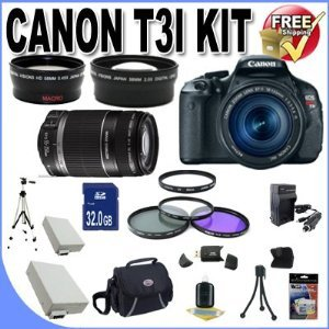 Rebel T3i 18 MP CMOS Digital SLR Camera and DIGIC 4 Imaging with EF-S 18-55mm f/3.5-5.6 IS Lens & Canon 55-250IS Lens + 58mm 2x Telephoto lens + 58mm Wide Angle Lens (4 Lens Kit!!!!!!) W/32GB SDHC Memory+ 2 Extra Batteries + Charger + 3 Piece Filter Kit +