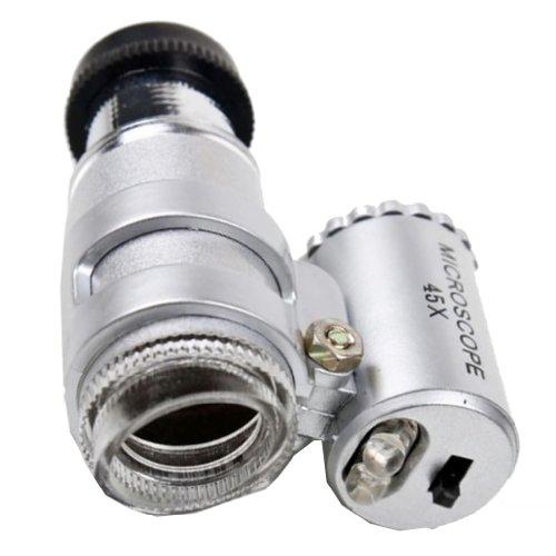 Generic 45X Mini Pocket Microscope Magnifier Magnifying Glass Jeweler Loup 2 Led Light