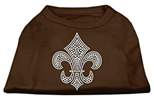 Mirage Pet Products Silver Fleur de Lis Rhinestone Pet Shirts, Medium, Brown