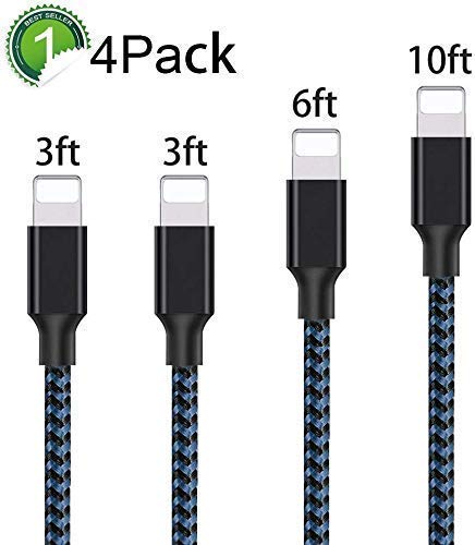 Phone Charger Cable 4Pack 3FT 3FT 6FT 10FT Fast Charging Cable Nylon Braided Fast Charging to USB Charger Cord Compatible Phone Charger X/8/8 Plus/7 Plus/6 Plus/6s Plus-BBlue