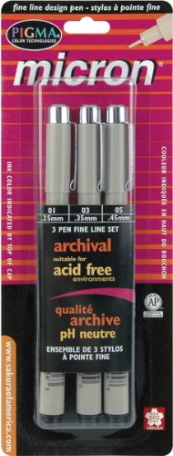 Sakura Pigma Micron Pen Set, 3-Pack, Black Ink