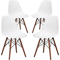 Poly and Bark EM-105-WAL-WHI-X4 Eames Style 4 Side Chairs (White)