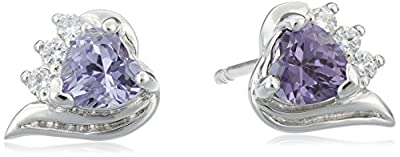 Revoni Cupids Grace Heart Shape Gemstone with CZ Diamond Earrings in Sterling Silver