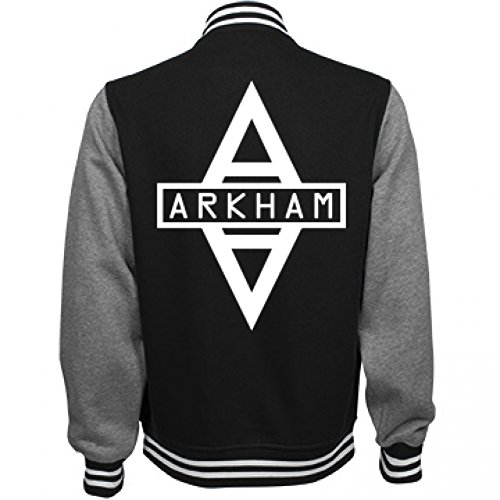 [Arkham City Costume Bomber: Unisex Fleece Letterman Varsity Jacket] (Pop Culture Halloween Costumes For Guys)
