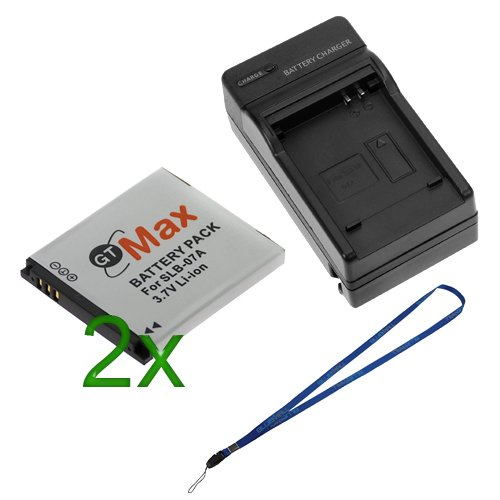 GTMax 2x SLB-07A Lithium-Ion Battery + SLB-07A Digital Camera Battery Charger with Car Adapter For Samsung ST600, DualView TL210, TL90, DualView TL225, DualView TL220, TL100