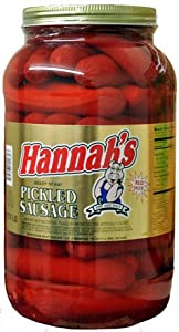 Hannahs Pickled Sausage 4lb Jar by American Foods Group