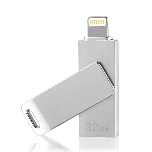 [Apple MFi Certified] Swivel Flash Drive for iPhone iPad iPod External Storage Memory Expansion USB Stick with Lightning Connector (32GB) (Space Gray) (5s 32gb Space Gray compare prices)