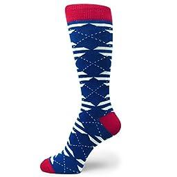 Spotlight Hosiery Men\'s Groomsmen Wedding Argyle Dress Socks-Royal Blue/White/Red