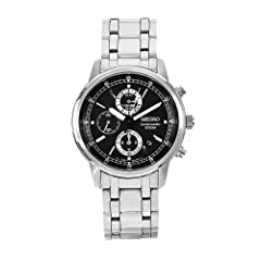 Seiko Men's SNDC27 Chronograph Stainless Steel Black Dial Watch