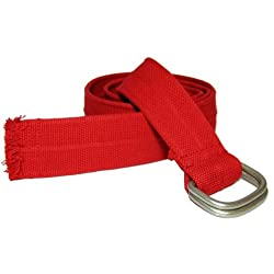 Attractive & Durable Mens Cotton Belt with Loop Buckle By Stone Touch - Mens Belts Red Silver Buckle 47 Inches