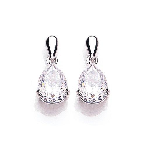 9ct White Gold Swarovski Enlightened C.Z. French Fitting Pear Earrings