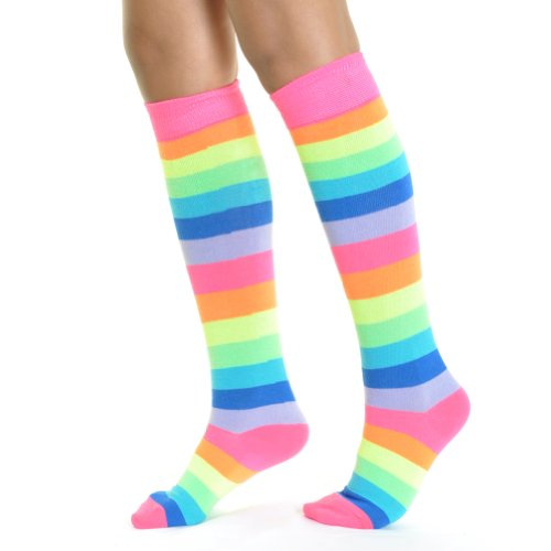 Angelina NEON Rainbow Striped Knee High Socks, #2540A_6-8