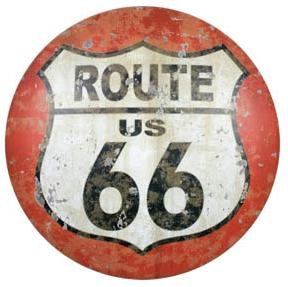 Route 66 Domed Button Street Sign Garage Bar Man Cave Tin Car Sign