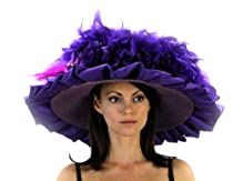 Chirping Charm Ladies Derby Hat Trimmed with Satin and Bird Accent (Purple with Fuchsia)