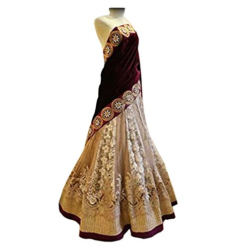 Ustaad Maroon Beige Colored Embroidered Net Velvet Lehenga Choli