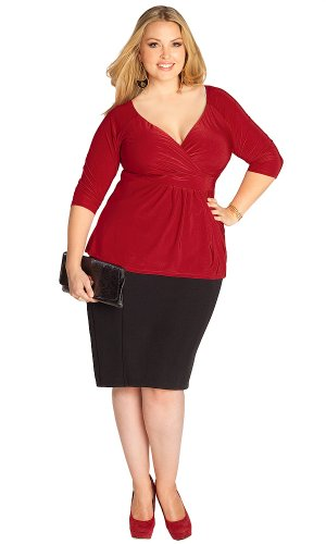 IGIGI Plus Size Arabelle Top in Crimson 14/16