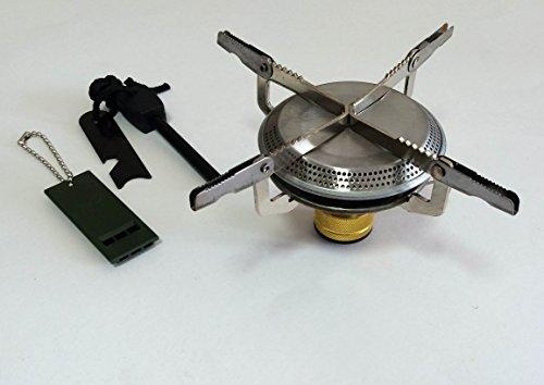 AKEMIDO 軽量 携帯 ミニ コンパクト ガスバーナー ストーブ キャンプ用 ファイヤースターター ホイッスル セット -