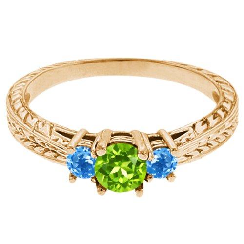 0.60 Ct Round Green Peridot Swiss Blue Topaz 14K Yellow Gold 3-Stone Ring