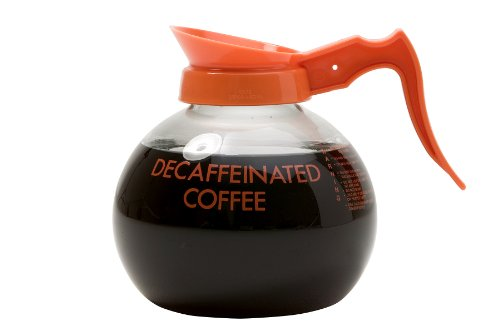 Wilbur Curtis Commercial Coffee Decanter 21 Decanters: (7 - 3 Packs) Orange Handle/Orange Imprint Logo: Decaf Only - Coffee Decanter - 70280200409 (Pack of 21)