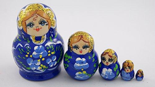 [Small Toy 5pcs Nesting Dolls Wooden Gift Handmade Ultramarine with Blue Flowers] (Babushka Doll Costume)