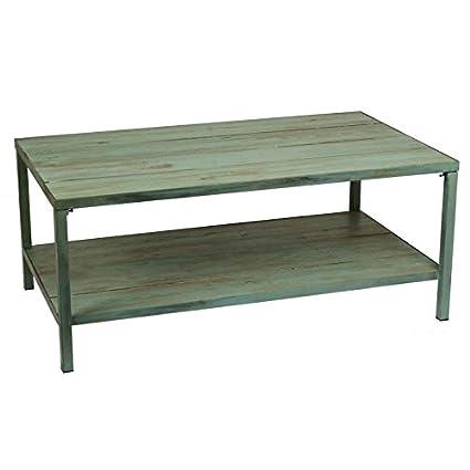 Mesa de centro con revistero elevable en madera de pino azul claro y metal