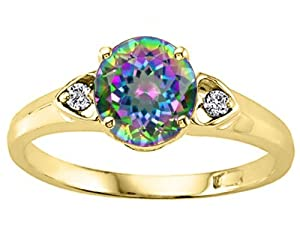 Tommaso Design Round 7mm Mystic Rainbow Topaz Engagement Ring in 14 kt Yellow Gold Size 8