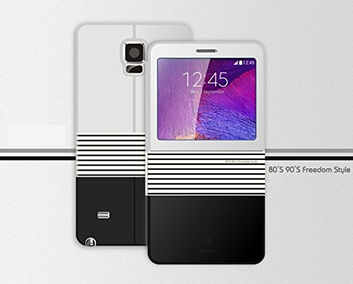 Flip Leather Cover Case for Samsung Note 4 Leather Flip Smart View Battery Cover Case for Samsung Galaxy Note 4