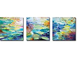 Ornamental Pond 1, 2, & 3 by Helen Wells 3-pc Premium Gallery-Wrapped Canvas Giclee Set (Ready-to-Hang)